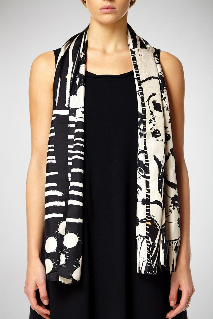Monochrome Sploshes Black Based - Silk Scarf - Oblong - Bianca Elgar