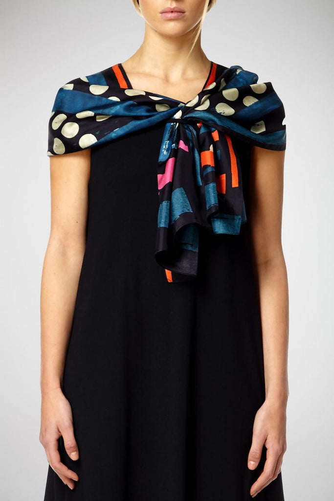 Multicolour Black Based - Silk Scarf - Oblong - Bianca Elgar