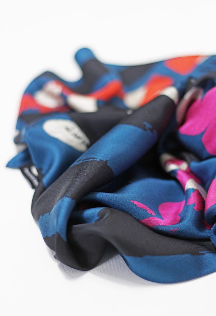 Multicolour Blue Based - Silk Scarf - Large - Bianca Elgar