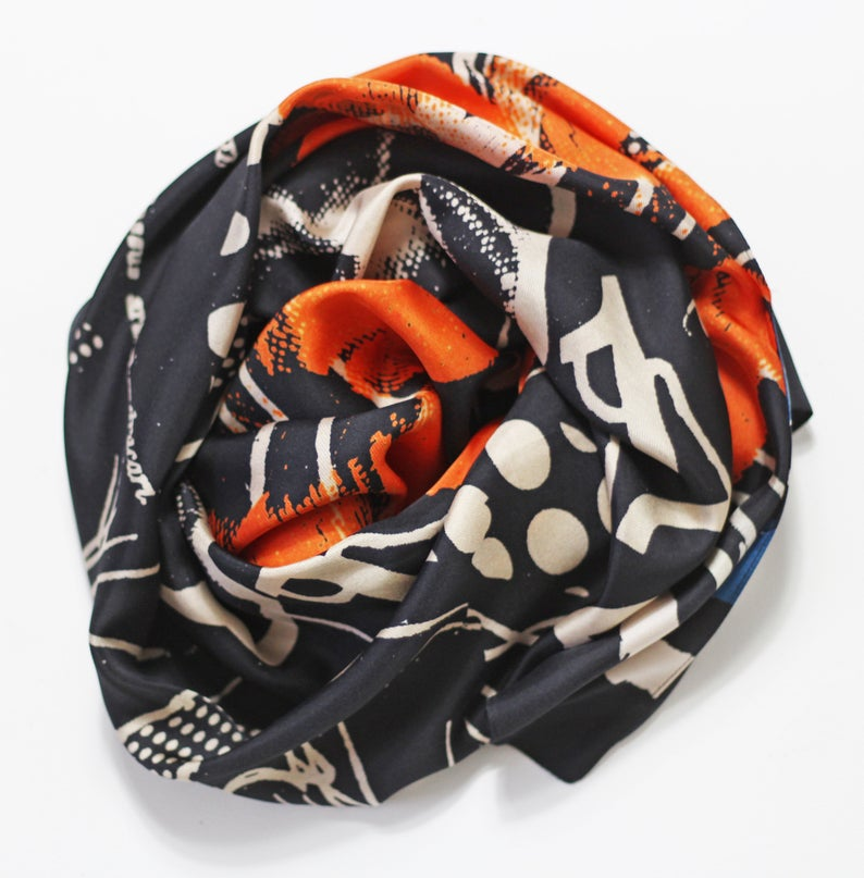 Orange Flowers Black Based - Silk Scarf - Oblong - Bianca Elgar