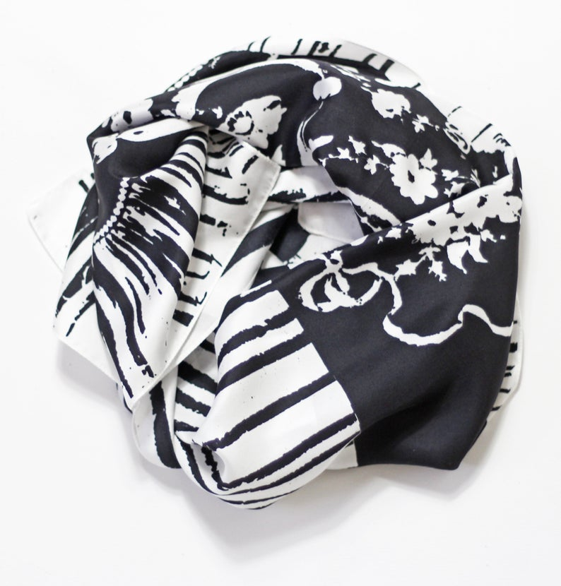 Monochrome Sploshes White Based- Silk Scarf - Oblong - Bianca Elgar