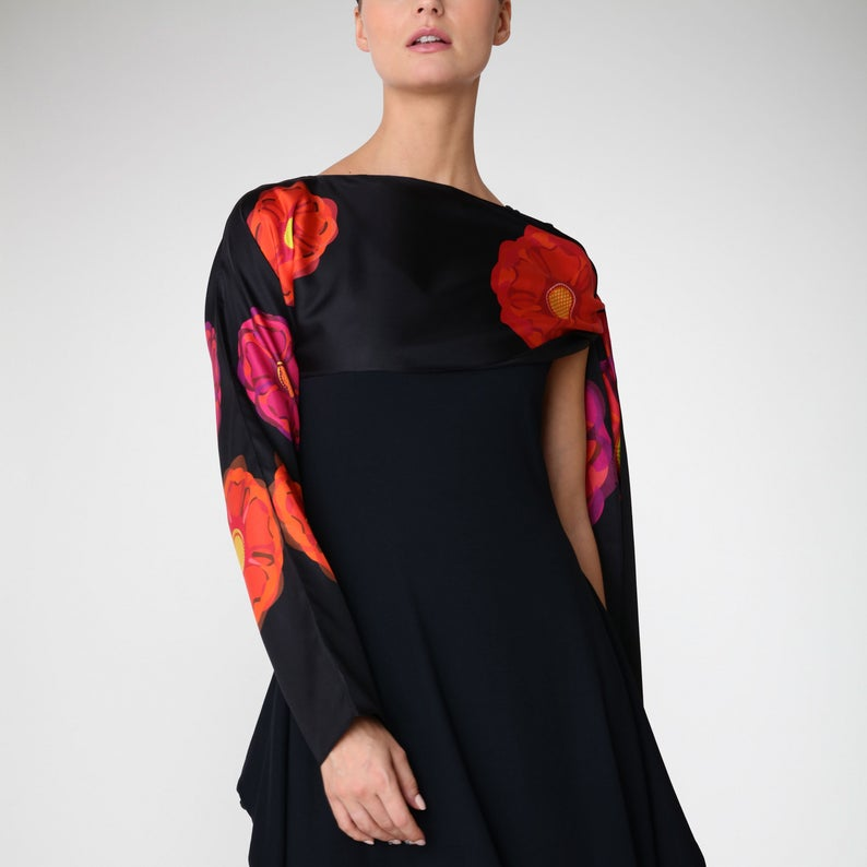 Rose Floral - Silk Sleeved Scarf - Bianca Elgar