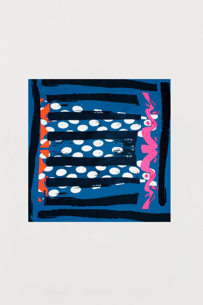 Multicolour Blue Based - Silk Scarf - Small - Bianca Elgar
