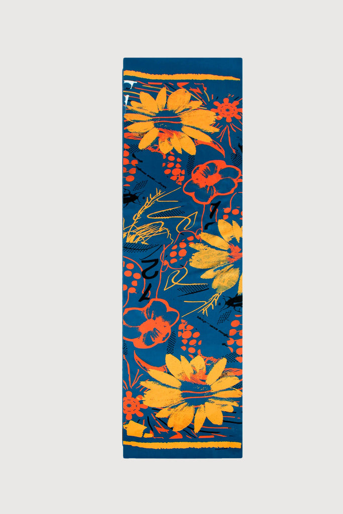 Orange Flowers Blue Based - Silk Scarf - Oblong - Bianca Elgar