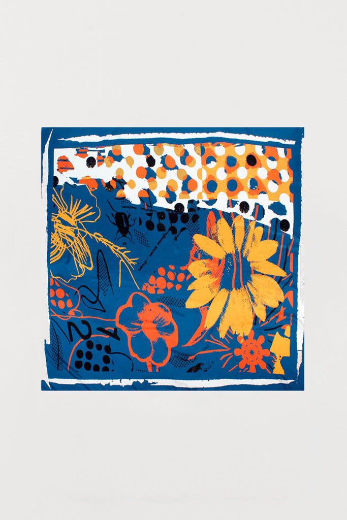 Orange Flowers Blue Based - Silk Scarf - Large - Bianca Elgar