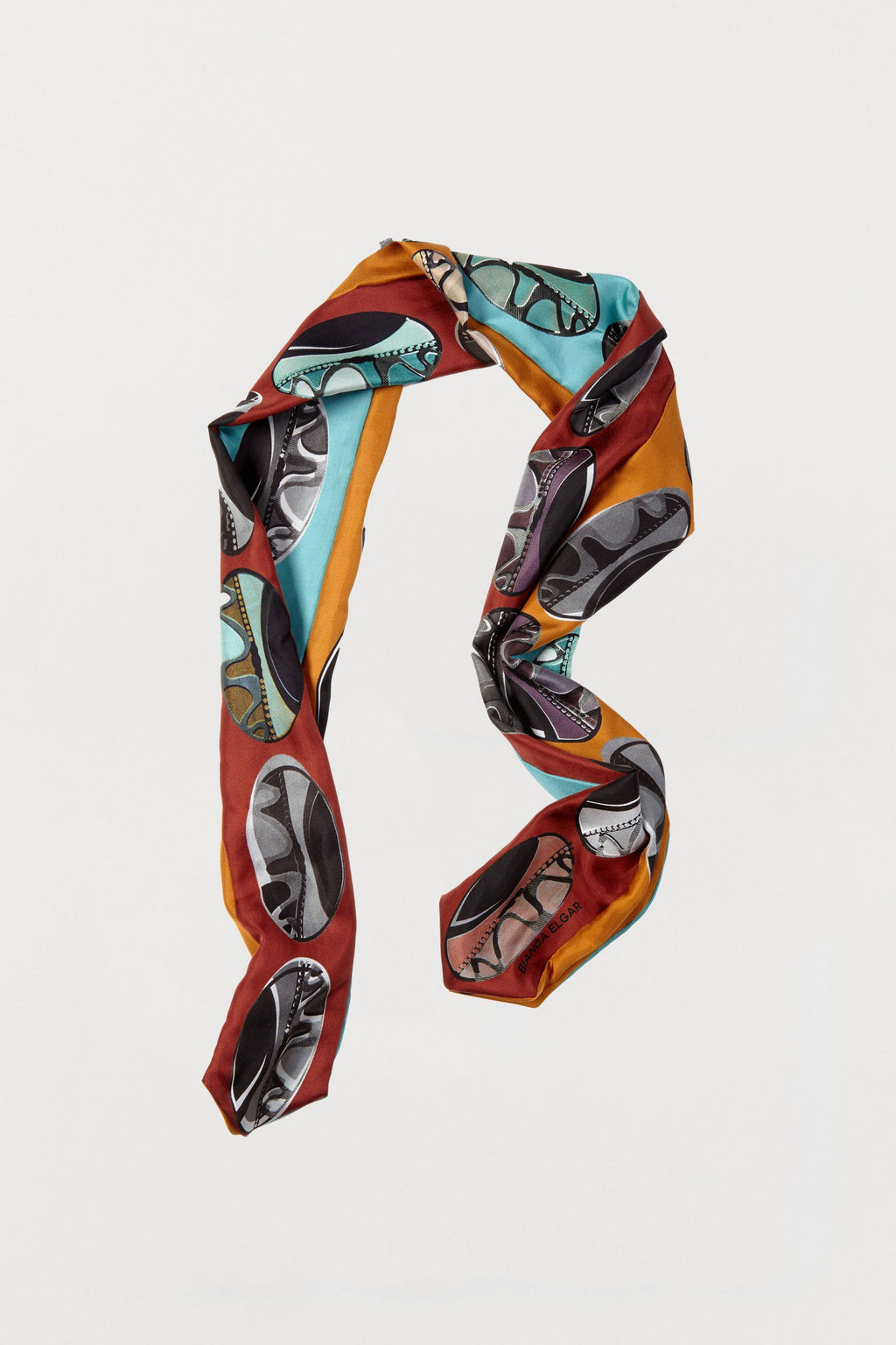 Bright Beads Silk Scarf - Three Sided Skinny - Bianca Elgar
