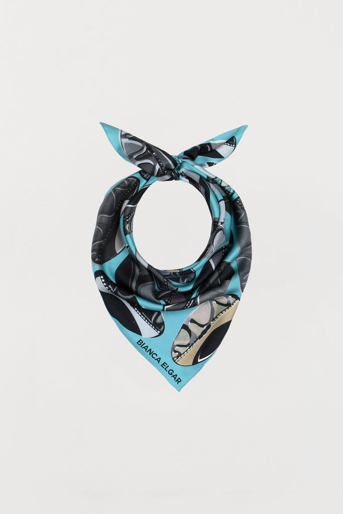 Light Blue Beads - Silk Scarf - Medium - Bianca Elgar