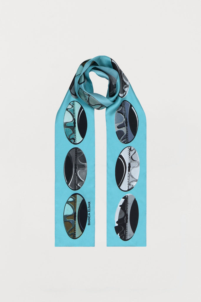 Light Blue Beads- Silk Scarf - Skinny - Bianca Elgar