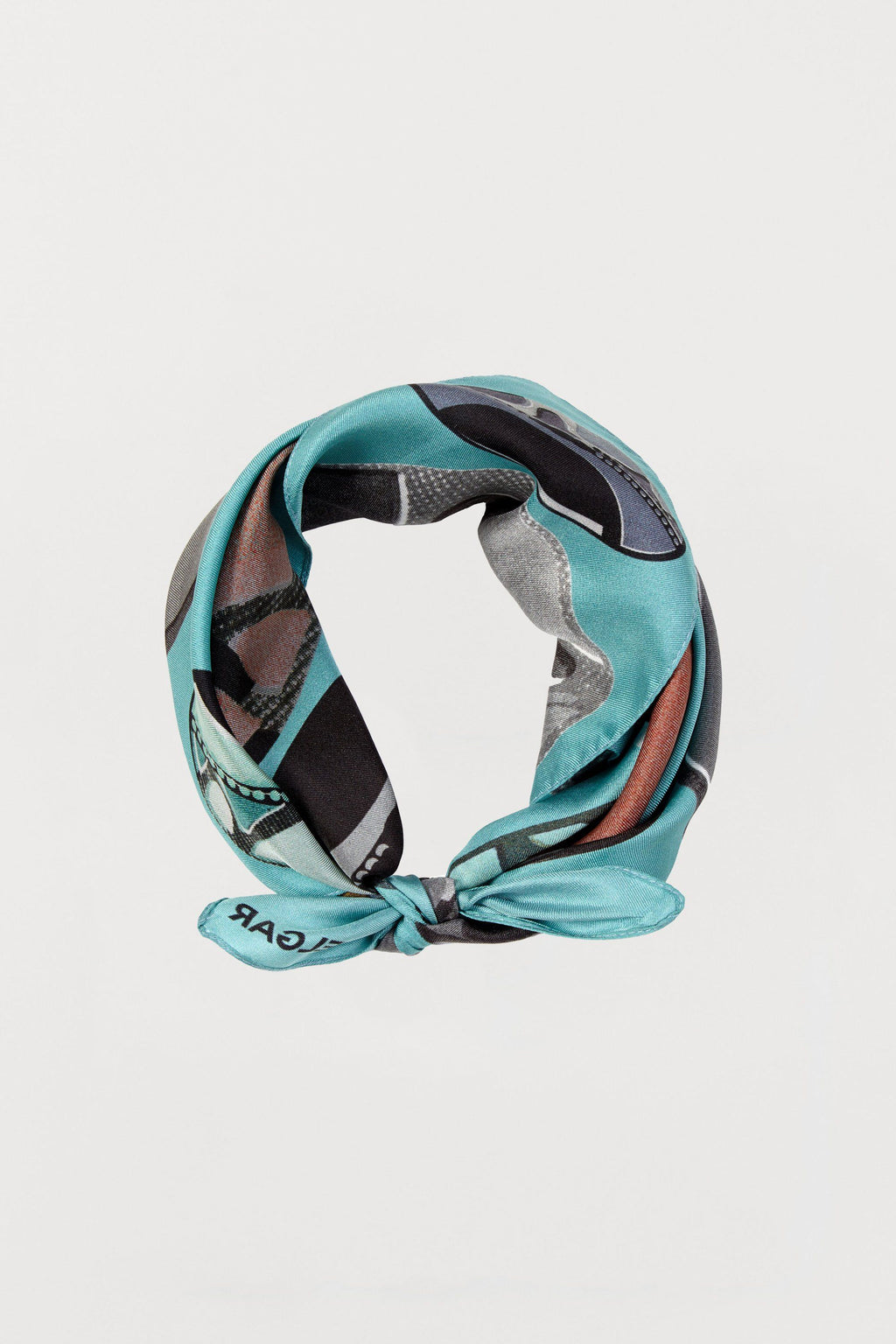 Light Blue Beads Silk Scarf - Small - Bianca Elgar