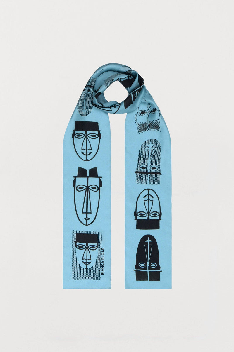 Light Blue Men Print Silk Scarf - Skinny - Bianca Elgar