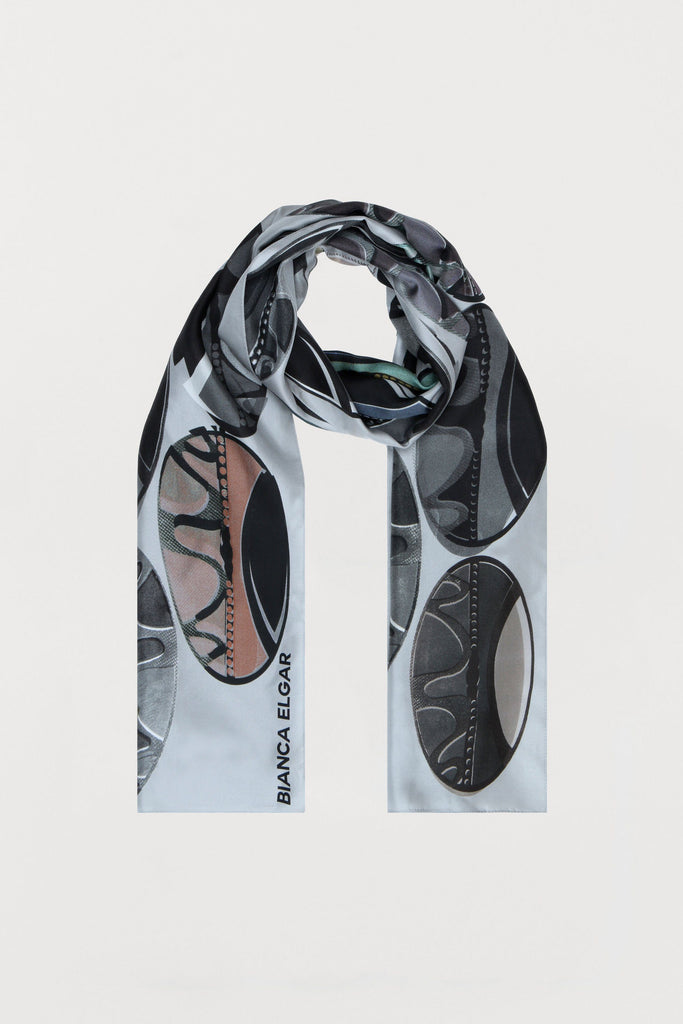 Light Grey Beads - Silk Scarf - Oblong - Bianca Elgar