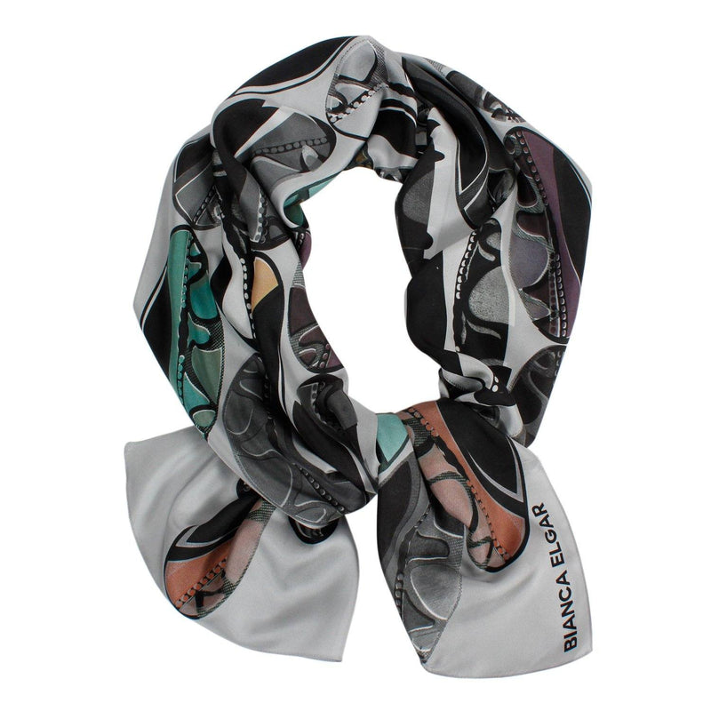 Light Grey Beads Silk Scarf - Oblong - Bianca Elgar