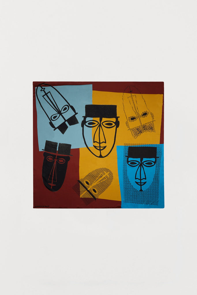 Abstract Male Faces Print - Silk Scarf - Large - Bianca Elgar