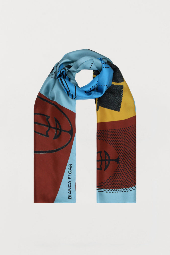 Men Print - Silk Scarf - Oblong - Bianca Elgar