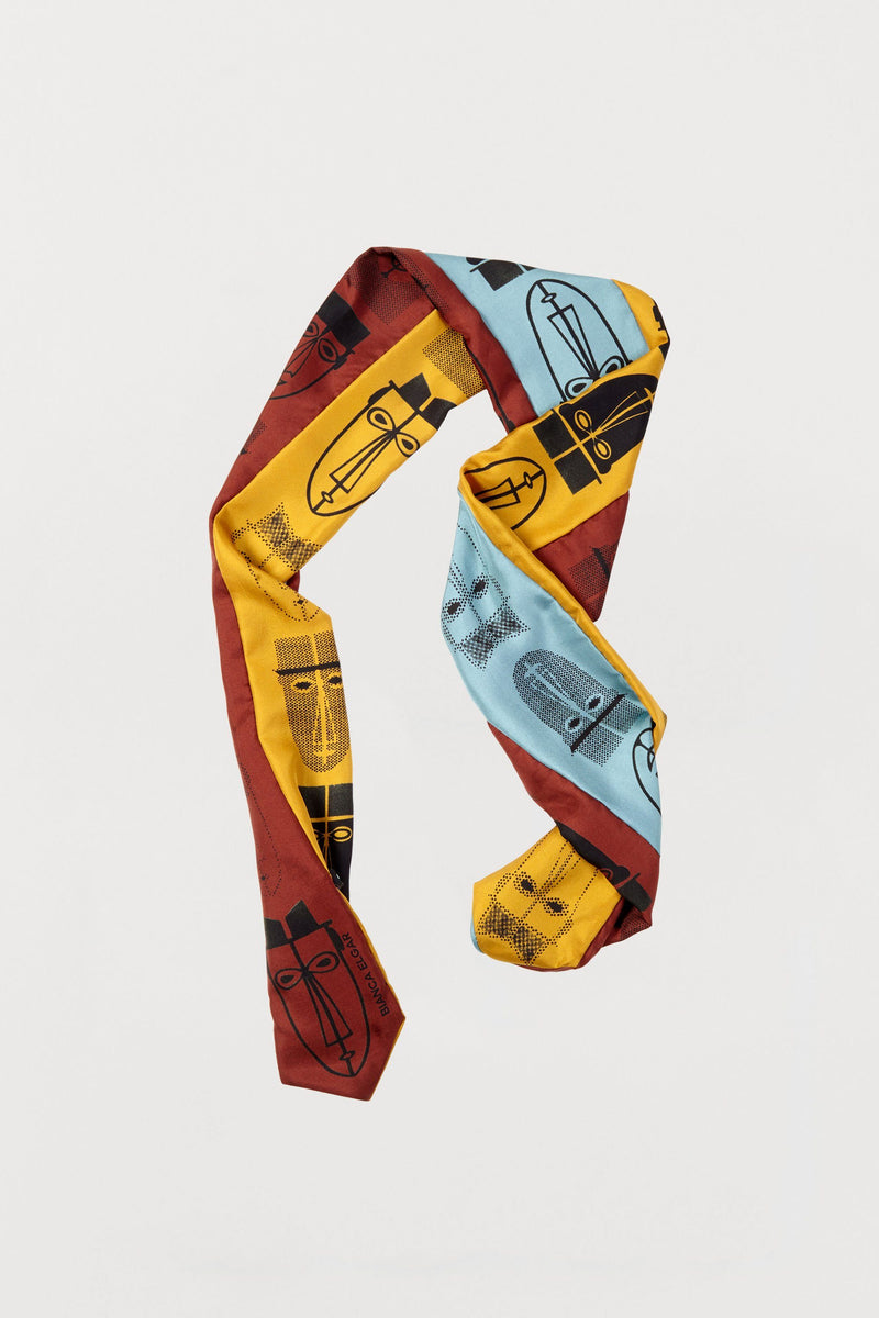 Men Print Silk Scarf - Three Sided Skinny - Bianca Elgar