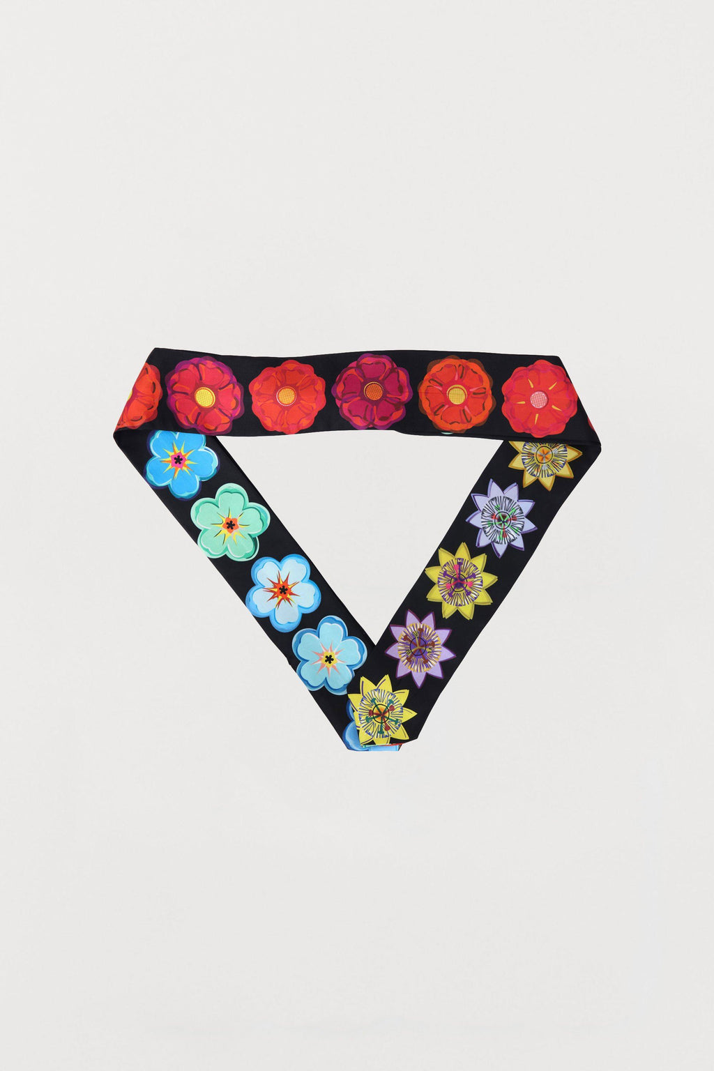 Mixed Flowers Silk Scarf - Three Sided Skinny - Bianca Elgar