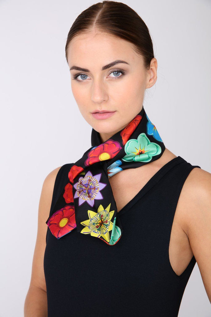 Mixed Flowers - Silk Scarf - Three Sided Skinny - Bianca Elgar