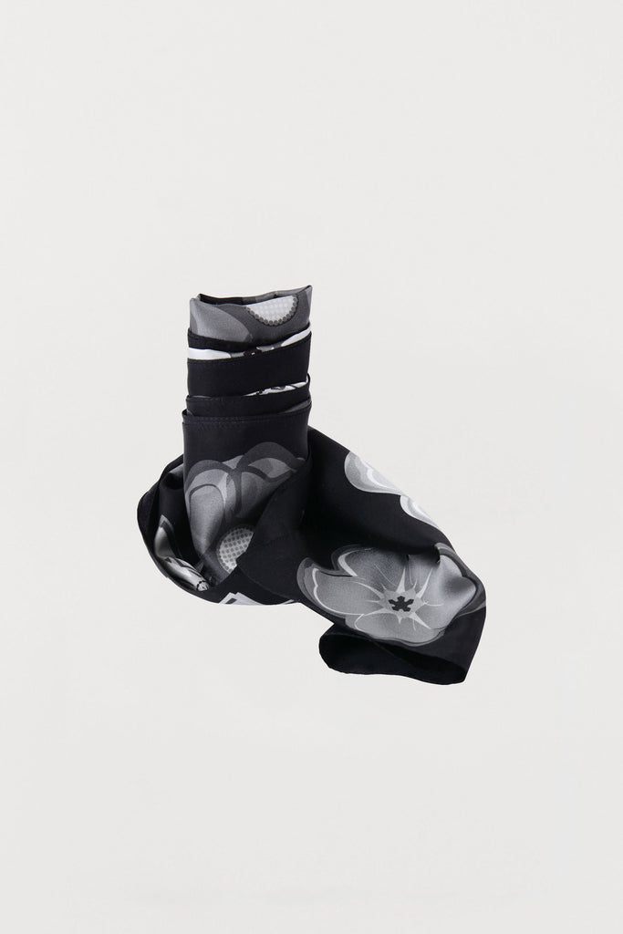 Mixed Monochrome Flowers - Silk Scarf - Oblong - Bianca Elgar