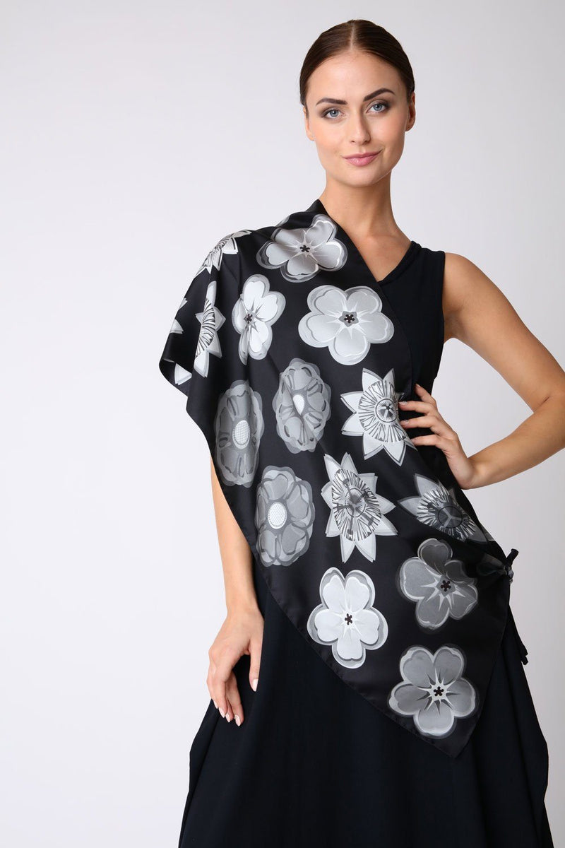 Mixed Monochrome Flowers Silk Scarf - Oblong - Bianca Elgar