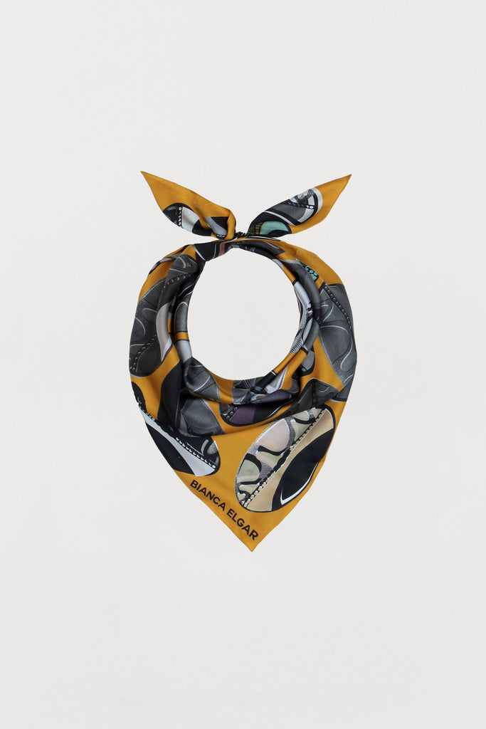 Ochre Beads - Silk Scarf - Medium - Bianca Elgar