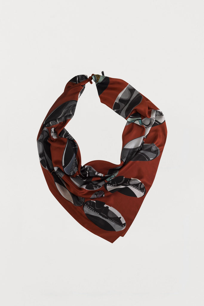 Rust Red Beads - Silk Scarf - Large - Bianca Elgar