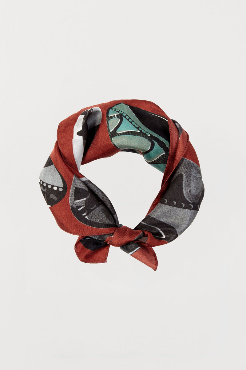 Rust Red Beads Silk Scarf - Small - Bianca Elgar