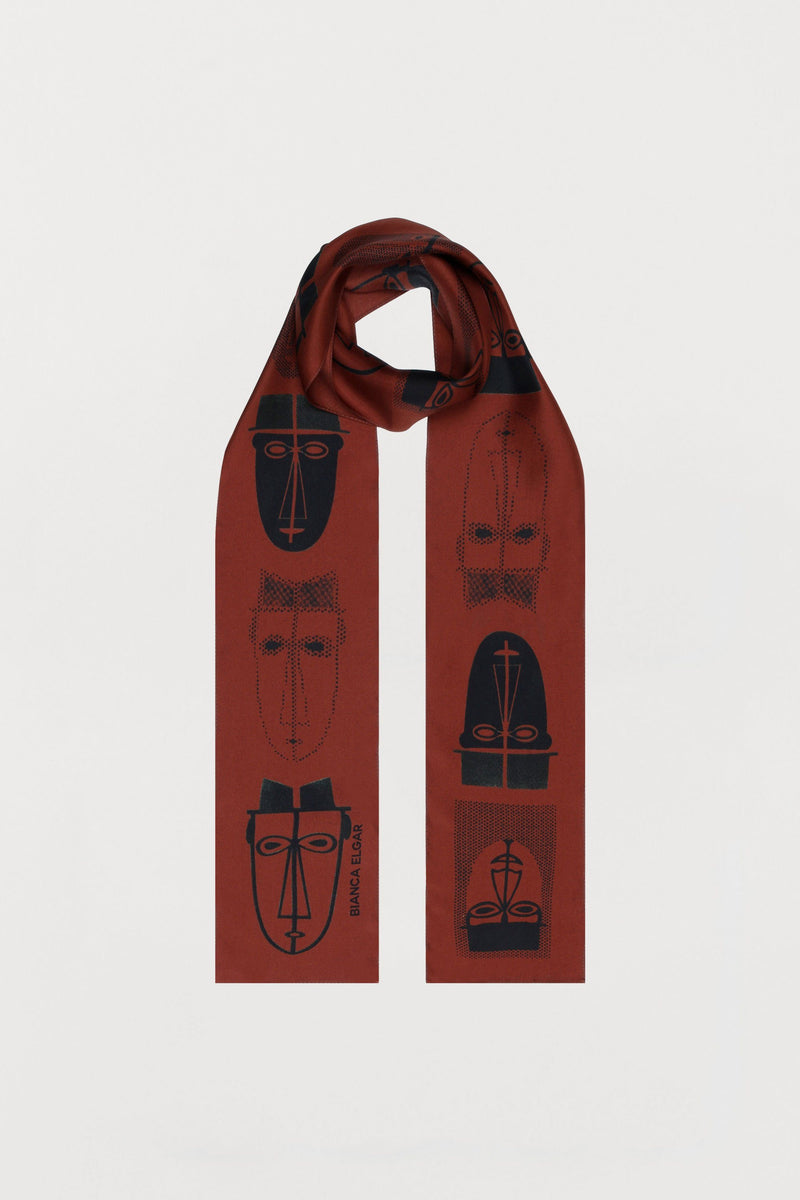 Rust Red Men Print Silk Scarf - Skinny - Bianca Elgar