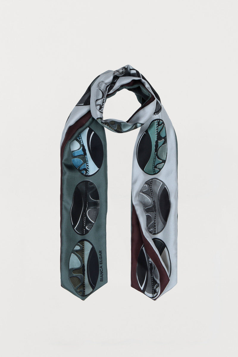 Subtle Beads Silk Scarf - Three Sided Skinny - Bianca Elgar