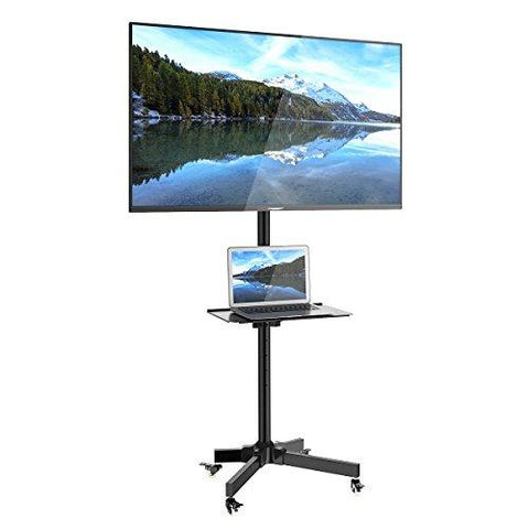 "Mobile TV Cart for LCD LED Plasma Flat Screen Panel Trolley Floor Stand with Locking wheels, Fits 23"" to 55"" (2 Year Warranty), (H10)"