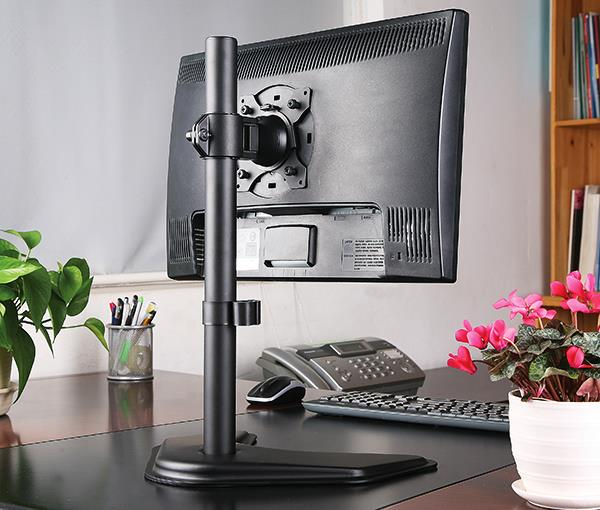 Single LCD Computer Monitor Free-Standing  Desk Stand Adjustable Tilt Holds 1 Screen up to 27-inch, (EF001)