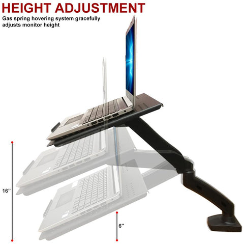Full Motion Swivel Laptop Desk Stand with Gas Spring Arm - Height Adjustable Notebook Riser (NAG)