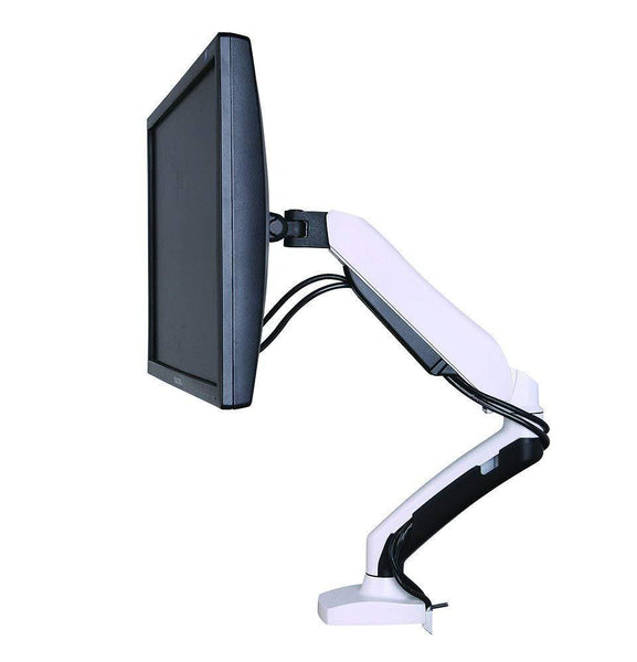 "Gas Powered Monitor Arm Desk Mount Stand w/ vesa bracket , desk clamp & grommets for 17""-27"" Screens : Tilt up/down 180°, free swivel left/right 360°, 360° rotation, free monitor rotation: landscape or portrait , free height adjustment - in White WGS001"
