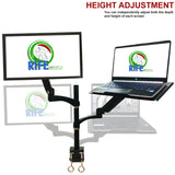 "Rife Dual Arm Monitor & Laptop Mount - Heitgh and Angle Adjustment, 18"" Pole (NA-G DC)"