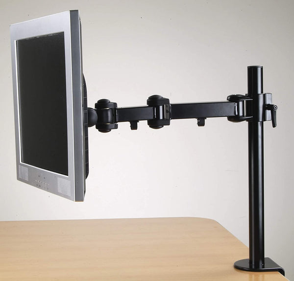 Single Fully Adjustable/Tilt/Articulating Full Motion LCD Arm Desk Mount Stand for 1 Screen up to 27 Inch (RCPRM1)