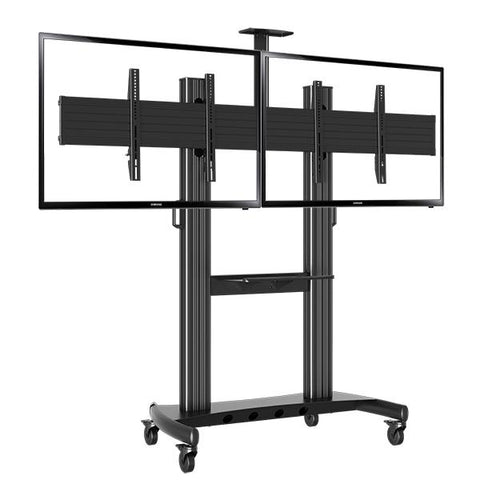 "Dual Screen TV Mobile Cart, Support 40""-70"" LED LCD Plasma TV's Mount, Height Adjustable, Black (RF200D)"