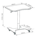 Ajustable Sit-Stand Laptop Desk Workstation Muti-Purpose Rolling Podium Lectern with Wheels Laptop Workstation, White (LPC09)