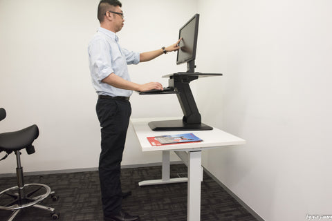 Black Height Adjustable Standing Desk Gas Spring Monitor Riser  , Tabletop Sit to Stand Workstation Converter (model RDF)