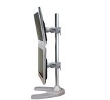 Dual Monitor Desk Stand Free-Standing LCD Mount, Holds in Vertical Position 2 Screens up to 27-inch, Silver (2MSFVS)