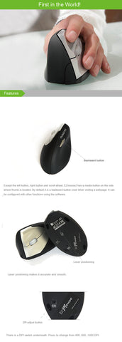 Ergonomical Vertical Mouse wireless left-handed