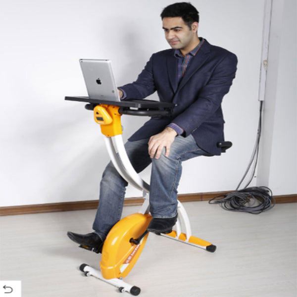 FOLDABLE UPRIGHT EXERCISE DESK BIKE FOR HOME & OFFICE USE