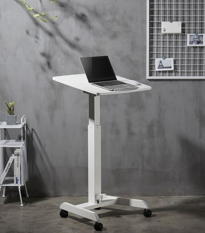 Pneumatic Instant Multi-Purpose Rolling Podium Lectern with Wheels Laptop Workstation, Height Adjustable Pneumatic Sit-Stand Mobile Laptop Cart, White (LPTGE)