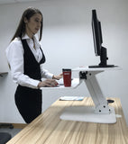 White Height Adjustable Standing Desk Gas Spring Monitor Riser, Tabletop Sit to Stand Workstation Converter (model RDFW)