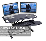 Gas Spring Height Adjustable Riser Converter, Sit-Standing Desk 37.4 Inch Wide Platform Riser Desk with Removable Keyboard Tray (Large), Black (RTE-BIG)