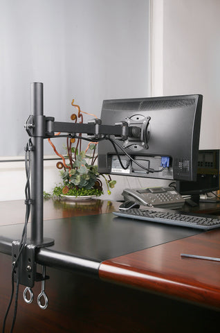 "Single Monitor Desk Mount Single LCD Monitor Desk Mount Stand Fully Adjustable/Tilt/Articulating for 1 Screen up to 27"" (Model RC1E)"