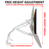 "White Gas Powered Monitor Arm Desk Mount Stand w/ vesa Bracket for 17""-27"" Screens Tilt Up/Down 180, Swivel Left/Right 360, 360 Monitor Rotation-Landscape or Portrait Height Adjustment (LMSDS)"
