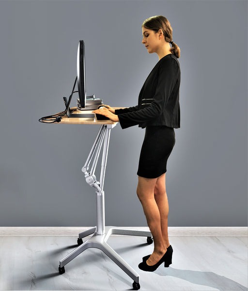 Pneumatic Sit-Stand Mobile Laptop Cart, Height Adjustable Multi-Purpose Rolling Podium Lectern with Wheels Laptop Workstation, Silver (LPT-S)