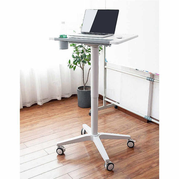Movable Laptop Desk With 4 Castors, Sit-Stand Mobile Laptop Computer Desk Cart,Height Adjustable, Aluminum Alloy Base, Bed Side Table For Laptop Desk Notebook Stand Tray, (R110)