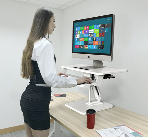 Sit to Stand Desktop Riser White with Pneumatic adjustment (White colour), (RDFP)