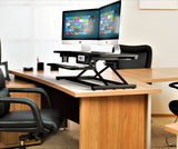 Ergonomic Electric Height Adjustable X-Lift Standing Desk Converter for Dual Monitors and Laptop - Black (RTEL-EC2)
