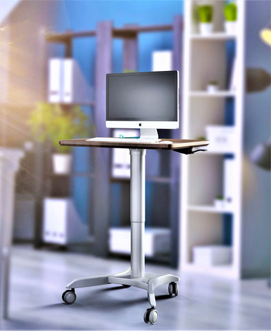 Pneumatic Adjustable Height Laptop Desk, Sit and Stand Mobile Laptop Computer Desk Cart, Ergonomic Design, Excellent Lectern for Classrooms, Offices, and Home, Silver (LPTR)
